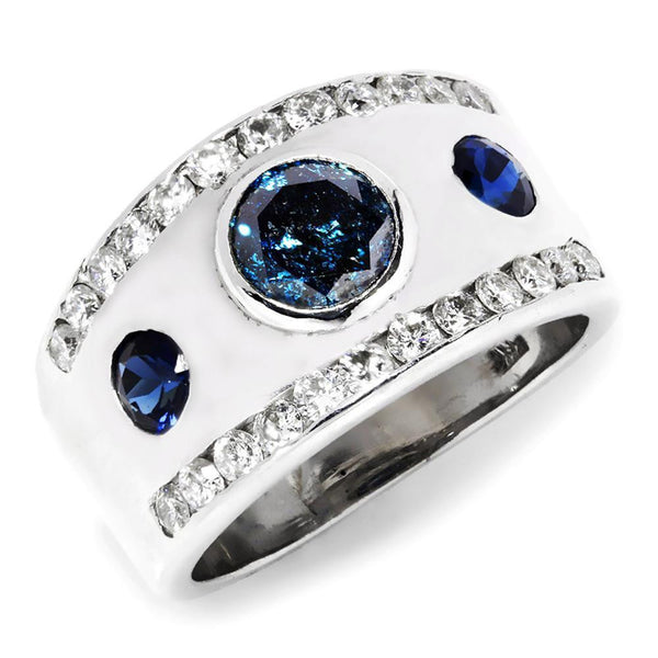 Once Upon A Diamond Engagement Ring Fancy Blue Diamond 3 Stone Modern Engagement Ring with Sapphires in 14K White Gold