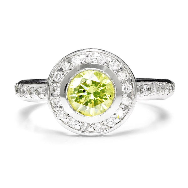 Once Upon A Diamond Engagement Ring Fancy Yellowish Green Round Diamond  Engagement Ring