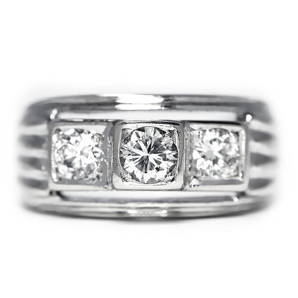 Once Upon A Diamond Engagement Ring Modern Three Stone Round Diamond Engagement Ring in White Gold .50ctw