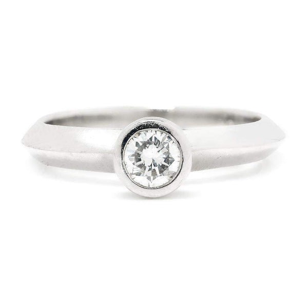 Once Upon A Diamond Engagement Ring Round Diamond Bezel Set Solitaire Engagement Ring 18K .25ct