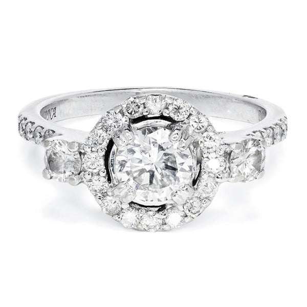 Once Upon A Diamond Engagement Ring Round Diamond Halo 3 Stone Engagement Ring 18K 1.44ctw