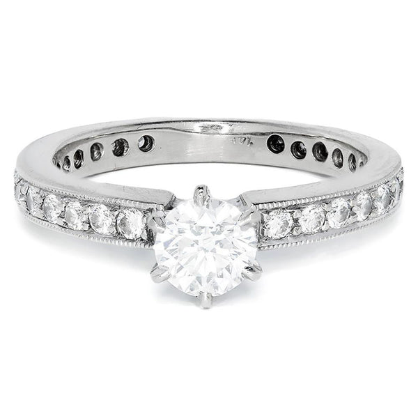 Once Upon A Diamond Engagement Ring Round Diamond Solitaire Engagement Ring w/ Accents 14K White Gold .92ctw