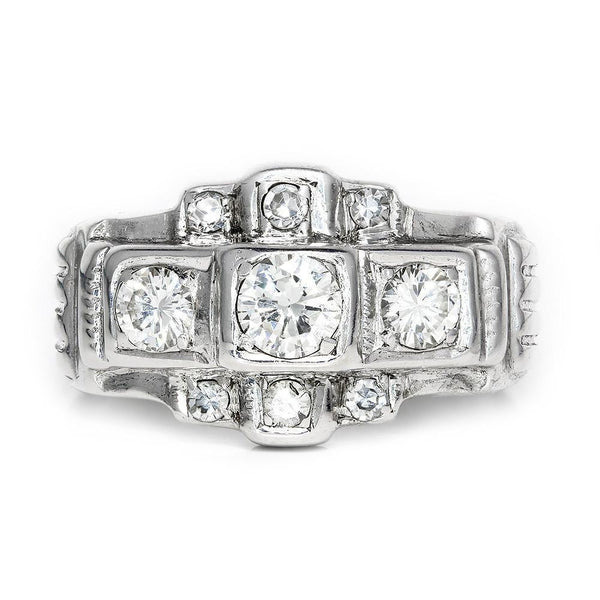 Once Upon A Diamond Engagement Ring Vintage 3 Stone Diamond Engagement Ring with Accents in 8kt White Gold .75ctw