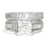Once Upon A Diamond Engagement Ring White Gold Certified Asscher Diamond Engagement Ring Set 18K 2.06ct