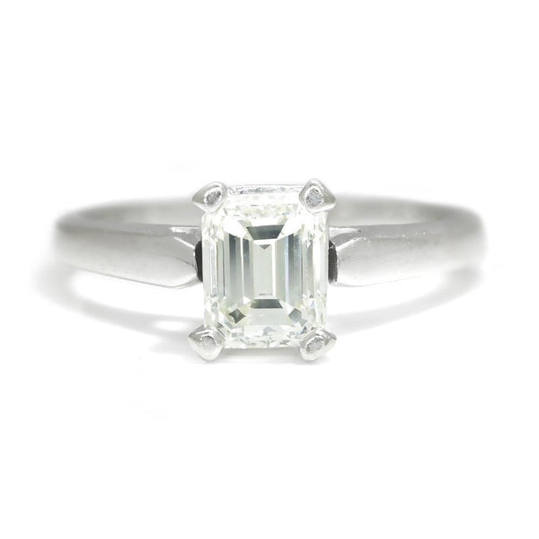 Once Upon A Diamond Engagement Ring White Gold Certified Emerald Cut Diamond Solitaire Engagement Ring 1.05ct