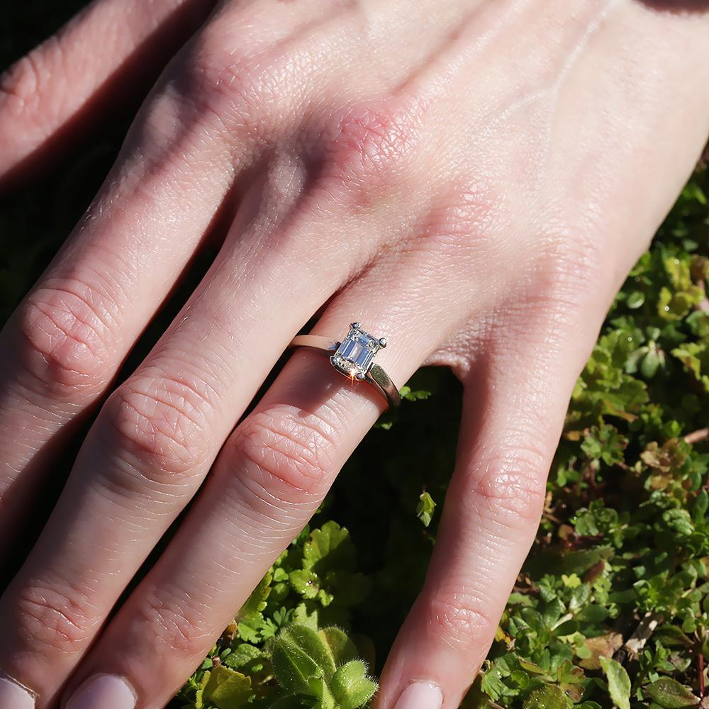 Certified Emerald Cut Diamond Solitaire Engagement Ring 1 05ct Once Upon A Diamond