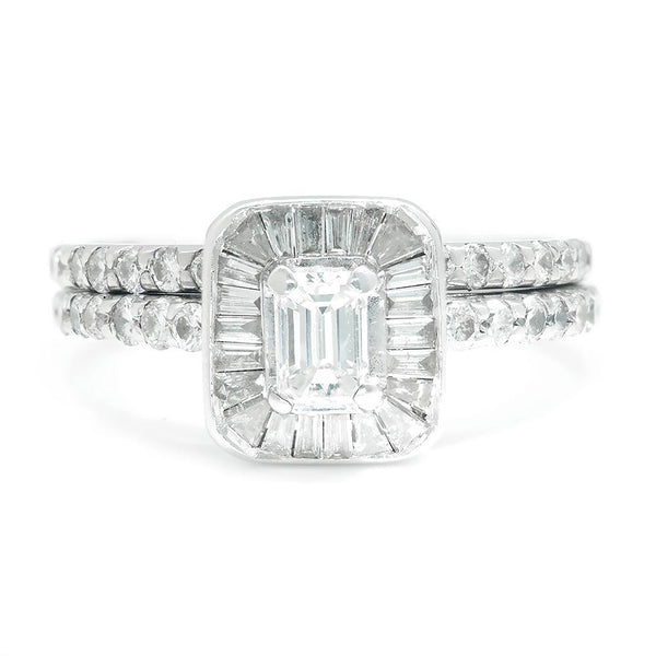 Once Upon A Diamond Engagement Ring White Gold Emerald Cut Diamond Halo Engagement Ring Set White Gold