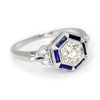 Once Upon A Diamond Engagement Ring White Gold Old Mine Cut Diamond Hexagon Sapphire Halo Ring