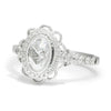 Once Upon A Diamond Engagement Ring White Gold Oval Rose Cut Diamond Filigree Engagement Ring 18K .80ctw