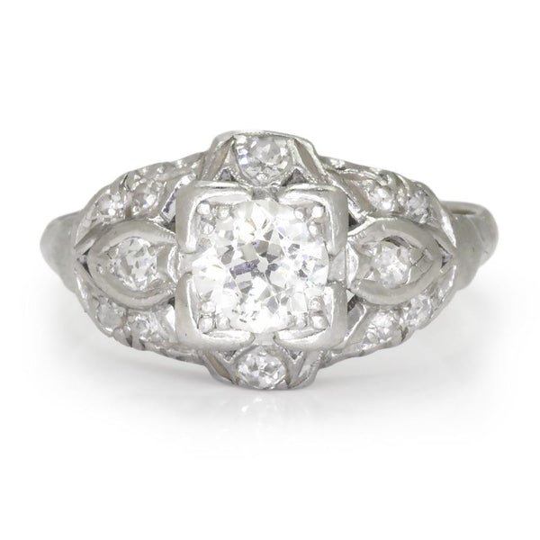 Once Upon A Diamond Engagement Ring White Gold & Platinum Art Deco Old Euro Diamond Engagement Ring 14K Platinum .65ct