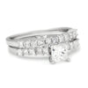 Once Upon A Diamond Engagement Ring White Gold Princess Diamond Engagement Ring Set with Accents 18K 1.26ctw