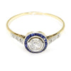 Once Upon A Diamond Engagement Ring White & Yellow Gold Old Euro Diamond Engagement Ring with Sapphire Halo 18K