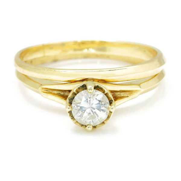 Once Upon A Diamond Engagement Ring Yellow Gold Round Diamond Solitaire Engagement Ring Set 14K Gold .45ct
