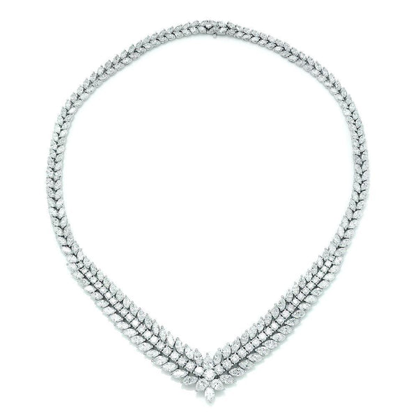 Once Upon A Diamond Necklace Diamond Tennis Necklace in Platinum 34.13ctw V Shaped Estate