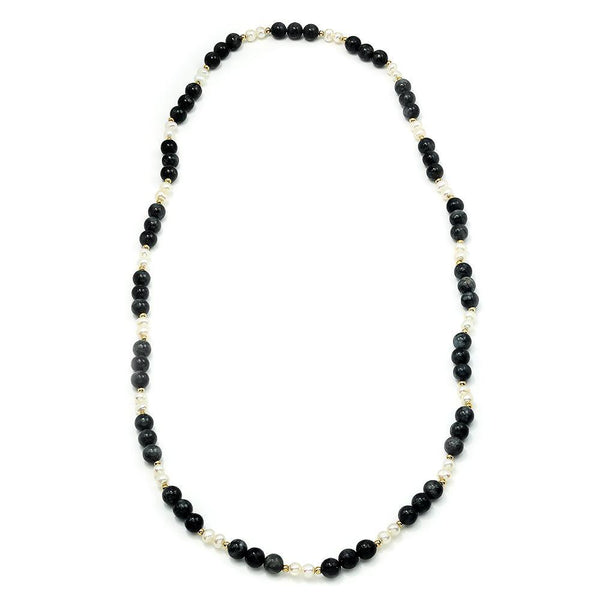 Once Upon A Diamond Necklace Labradorite Bead Necklace with Pearls & Gold 29""