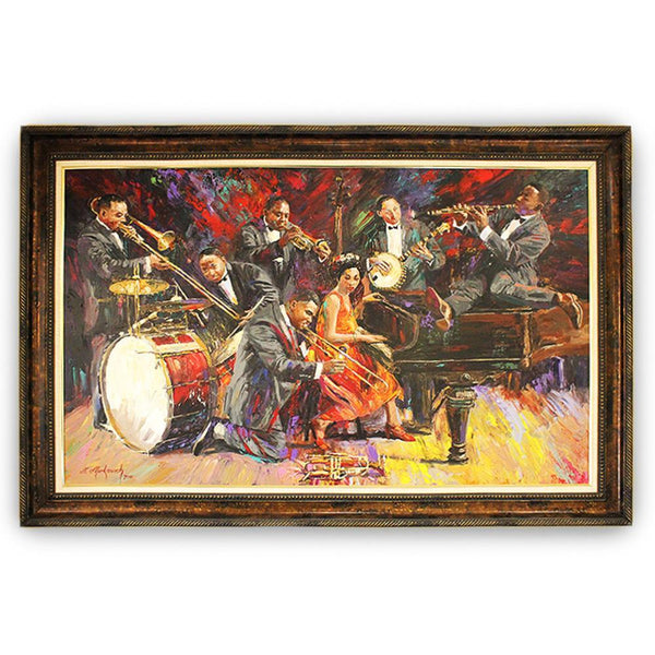 "Once Upon A Diamond Painting Nenad Mirkovich ""In the Mood"" Original Oil Painting Framed 44 1/2 x 68"" Jazz Scene"