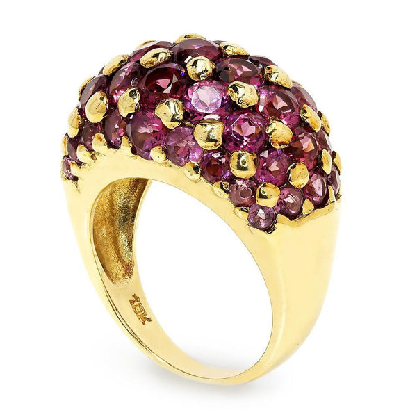 Once Upon A Diamond Pendant Estate Amethyst Cluster Dome Ring in Solid Yellow Gold 4.00ctw