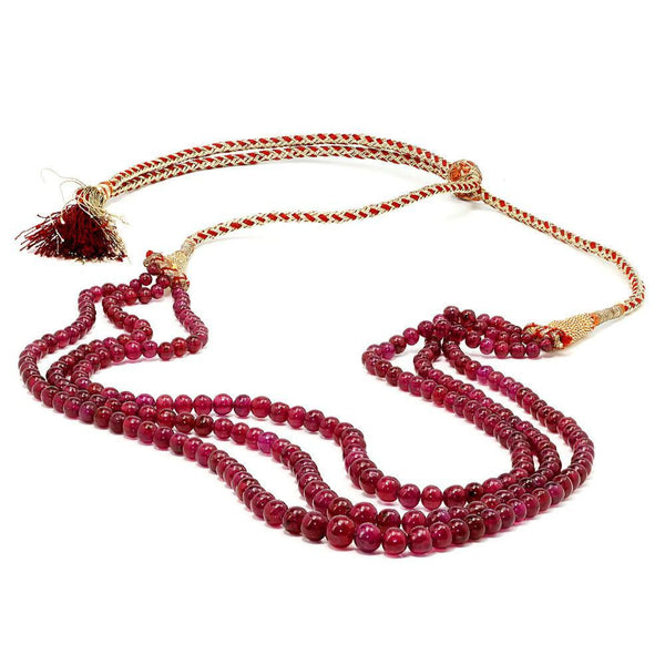 Once Upon A Diamond Pendant Necklace Triple Strand Ruby Bead Necklace 309.86 Carats NOT DYED