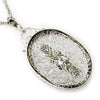Once Upon A Diamond Pendant Necklace White Gold Antique Old Euro Diamond Filigree Pendant Necklace 14K 0.20ctw