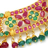 Once Upon A Diamond Pendant Necklace Yellow Gold Vintage Emerald & Ruby Indian Necklace 22K Gold 22.25ctw