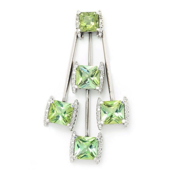 Once Upon A Diamond Pendant Peridot Dangle Drop Pendant with Diamonds 14K 7.25ctw