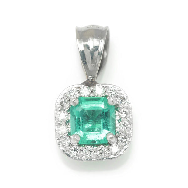 Once Upon A Diamond Pendant White Gold Emerald Halo Pendant with Diamonds 14K White Gold .53ctw