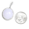 Once Upon A Diamond Pendant White Gold Round Cabochon Moonstone Pendant with Diamonds 14K