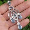 Once Upon A Diamond Pendant White Gold Swiss Blue Topaz Chandelier Pendant with Diamonds 18K 16.90ctw