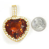 Once Upon A Diamond Pendant Yellow Gold HUGE Heart Citrine Halo Pendant with Diamonds 18K 104.30ctw