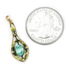 Once Upon A Diamond Pendant Yellow & Green Gold Antique Zircon Solitaire Engraved Pendant Yellow Gold 1.00ct