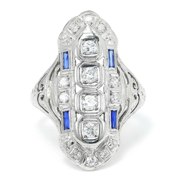 Once Upon A Diamond Ring Art Deco Diamond Dinner Ring with Sapphires 18K .45ctw