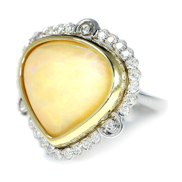 Once Upon A Diamond Ring Australian Opal & Diamond Heart Ring Two Tone Gold 14.41ctw