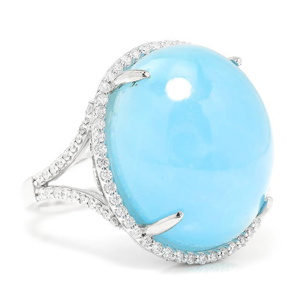 Once Upon A Diamond Ring Cabochon Aquamarine Halo Diamond Ring White Gold 31.13ctw