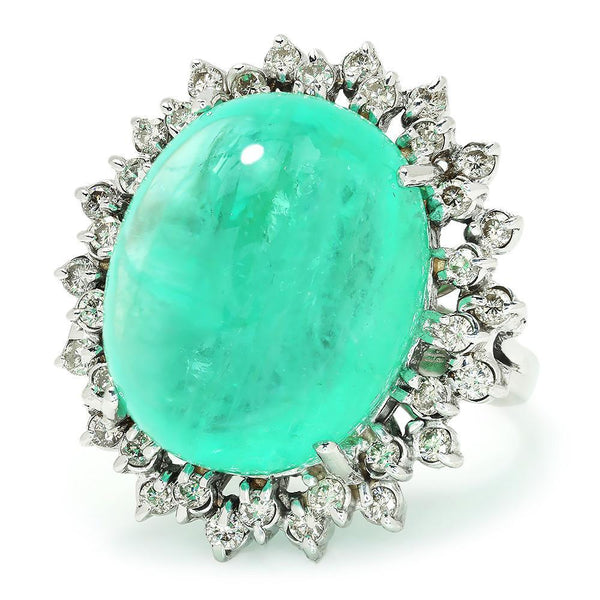 Once Upon A Diamond Ring Certified Cabochon Emerald Ring with Diamonds White Gold 30CT