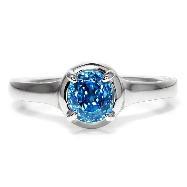 Once Upon A Diamond Ring Gabriel & Co Amavida Blue Zircon Solitaire Ring 18K 1.50ct
