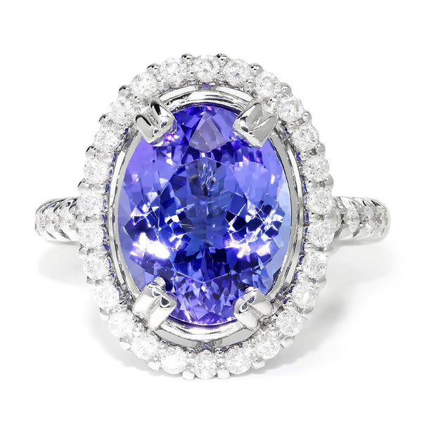 Once Upon A Diamond Ring GIA Certified Tanzanite Oval Halo Ring with Diamonds 18K White Gold 6.98ctw