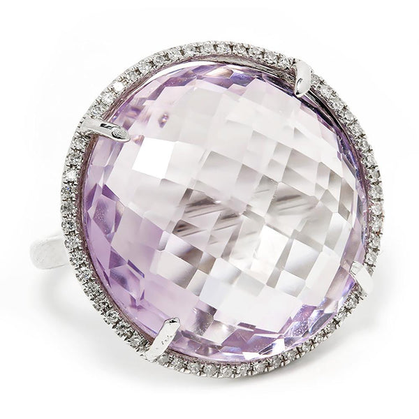 Once Upon A Diamond Ring Large Amethyst Halo Ring with Diamonds in 14kt White Gold 18.28ctw