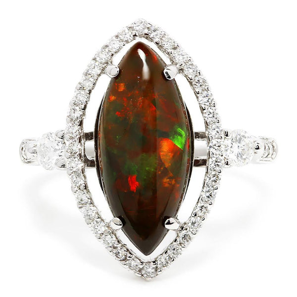 Once Upon A Diamond Ring Marquise Ethiopian Opal Halo Ring with Diamond's 18K October Birthstone 2.36ctw