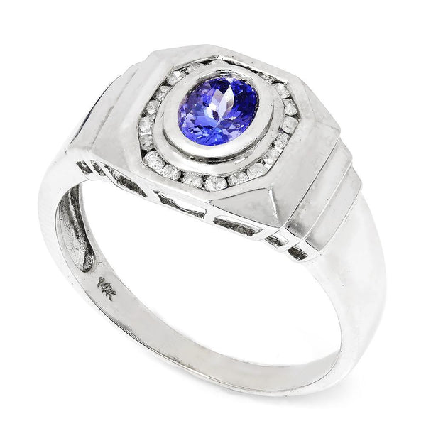 Once Upon A Diamond Ring Men's Tanzanite Ring with Diamonds 14K 1.60ctw
