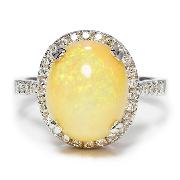 Once Upon A Diamond Ring Oval Opal Halo Ring with Diamond Accents 18K 5.50ctw