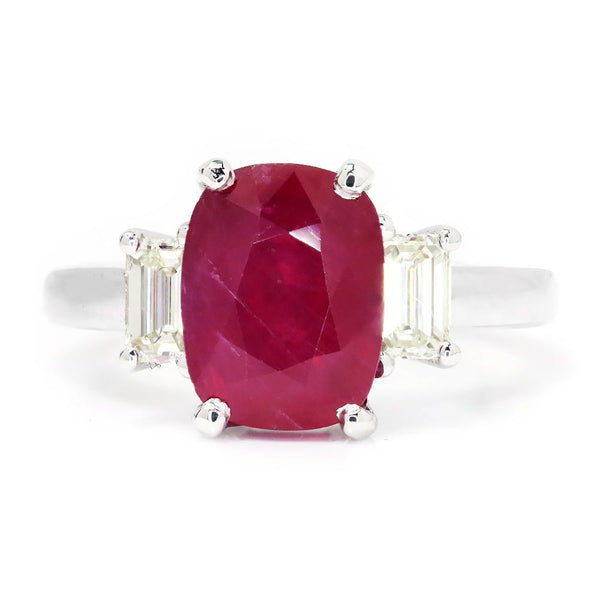 Once Upon A Diamond Ring Oval Ruby 3 Stone Ring with Diamonds 18K White Gold 3.98ctw
