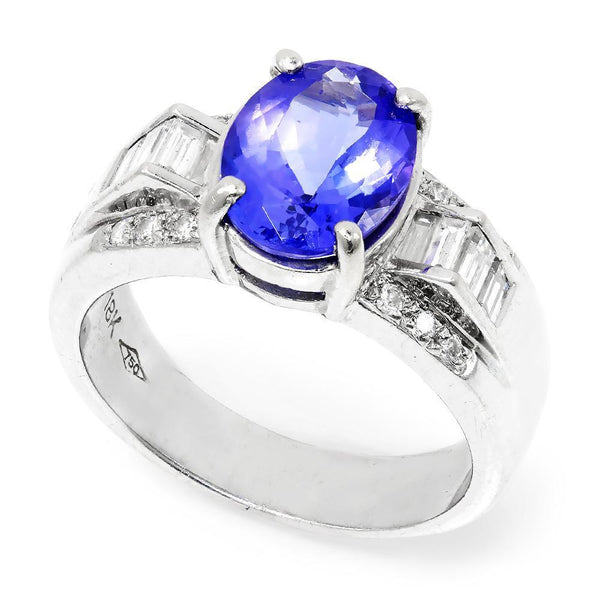 Once Upon A Diamond Ring Oval Tanzanite Ring with Diamonds 18K White Gold 2.63ctw