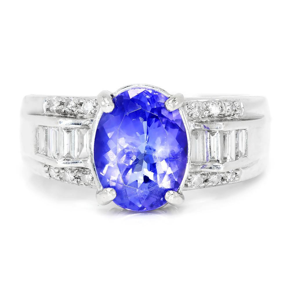 Tanzanite Buying Tanzanite: Oval Tanzanite Ring With Diamonds 18K White Gold 2.63ctw
