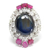 Once Upon A Diamond Ring Platinum HUGE Star Sapphire Platinum Ring with Rubies & Diamonds 30.00ctw