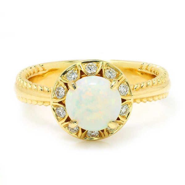 Once Upon A Diamond Ring Round Opal Halo Diamond Ring 14K Yellow Gold .85ctw
