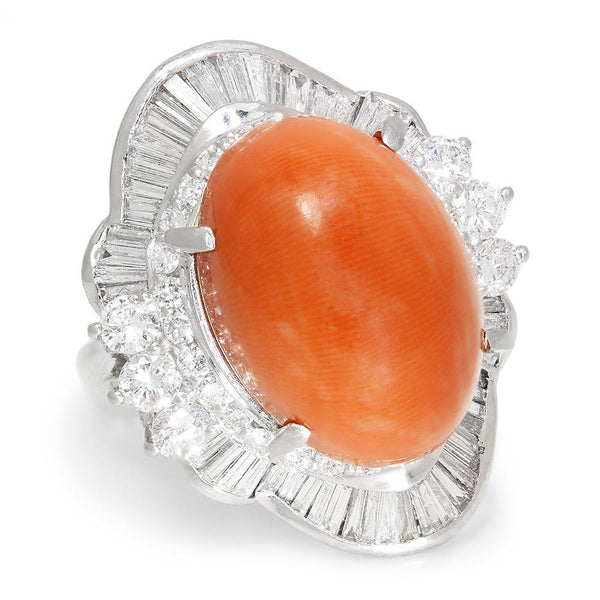 Once Upon A Diamond Ring Salmon Coral Ballerina Ring with Diamonds in Platinum 15.84ctw