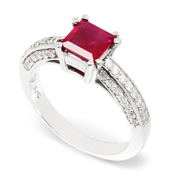 Once Upon A Diamond Ring Square Ruby Solitaire Ring with Diamonds 14K 1.27ctw