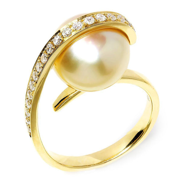 Once Upon A Diamond Ring Unique Golden South Sea Pearl Ring with Diamonds in 18kt Yellow Gold .30ctw 12MM