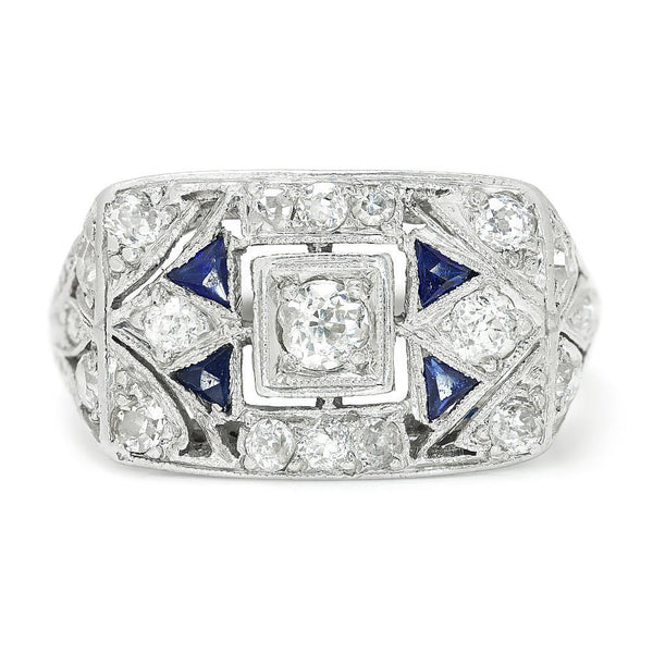 Once Upon A Diamond Ring Vintage Art Deco Diamond Dinner Ring with Sapphire's Platinum .60ctw