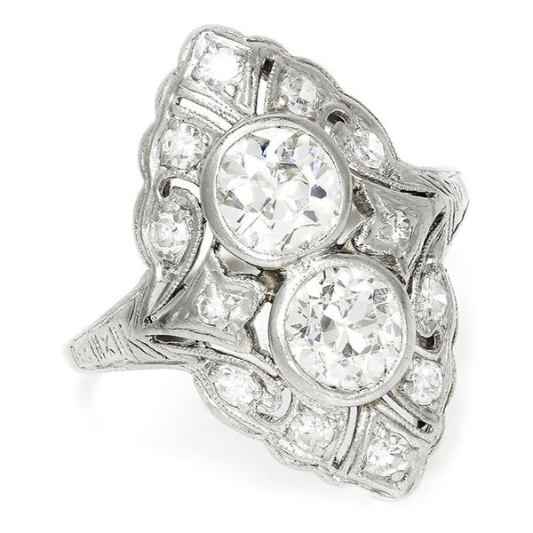 Once Upon A Diamond Ring Vintage Art Deco Double Diamond Filigree Ring with Accents in Platinum 2.50ctw